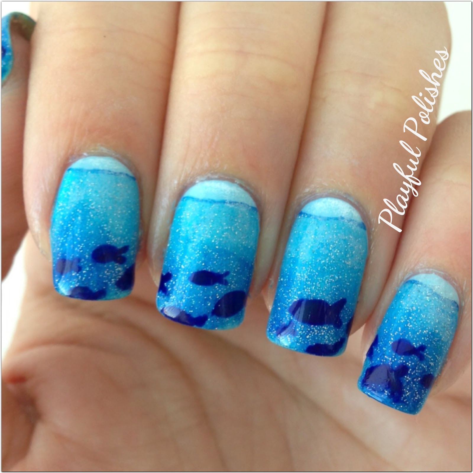 Playful Polishes: JUNE NAIL ART CHALLENGE: OCEAN NAILS