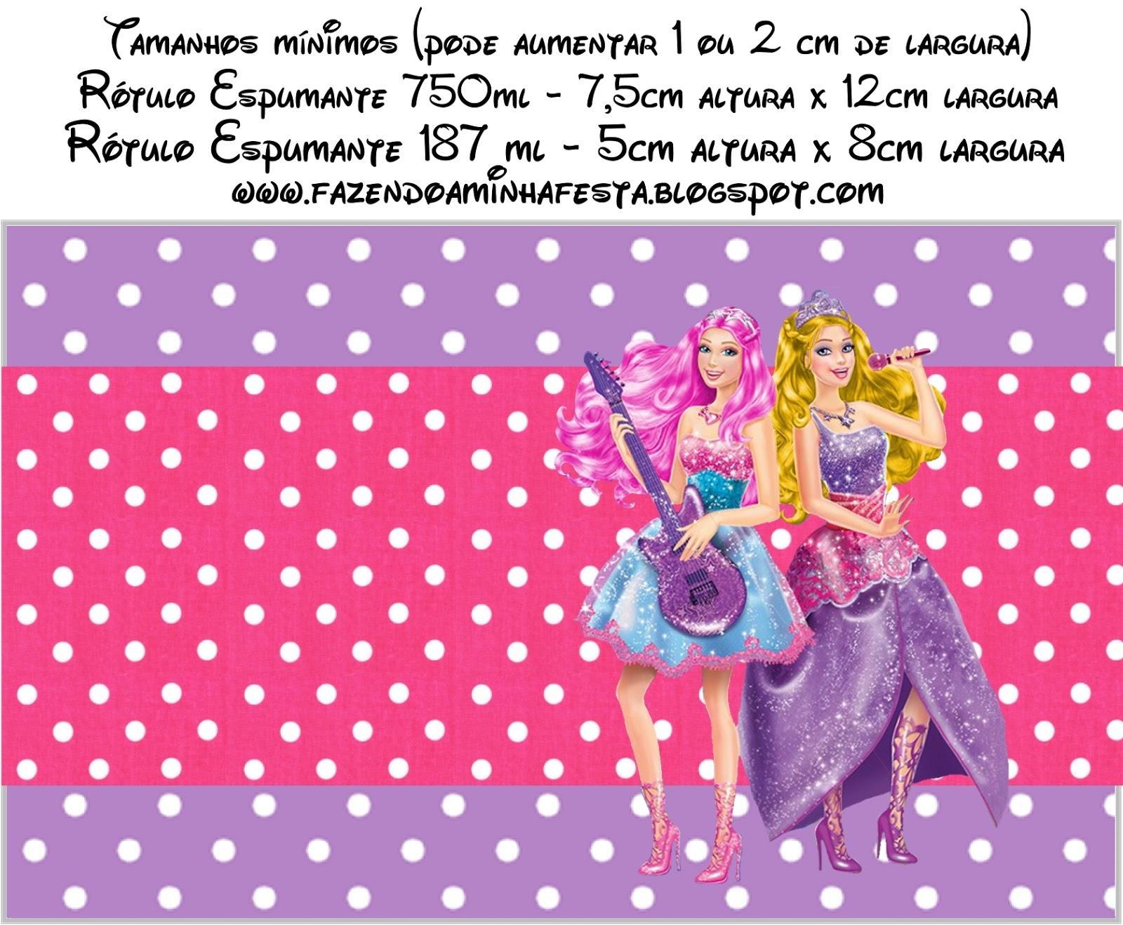 Festa   Barbie Princesa E A Pop Star   Kit Completo   Molduras Para