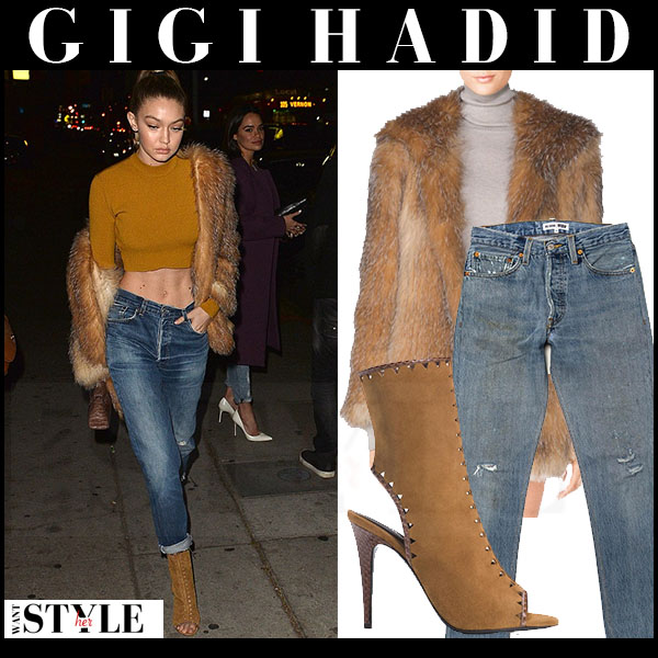 Gigi Hadid in fur tamara mellon coat, mustard crop top and camel ankle booties what she wore streetstyle