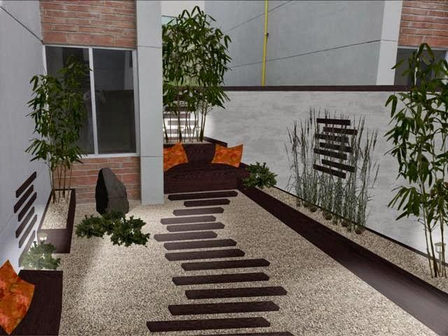 diseño patio trasero minimalista Zen foto iluminacion noche