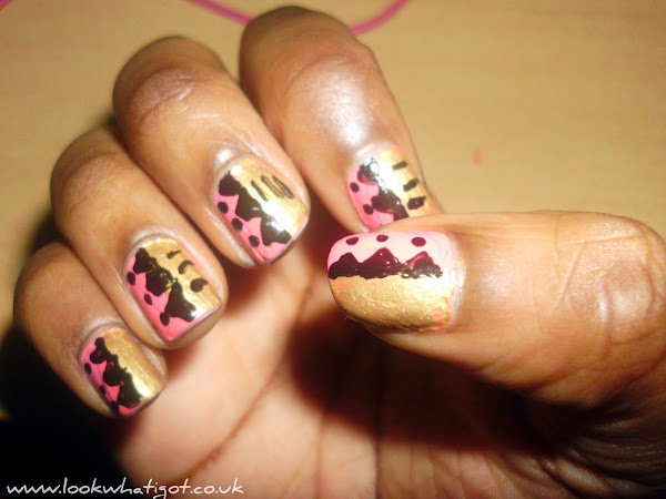 Nail Art:: Pink and Gold