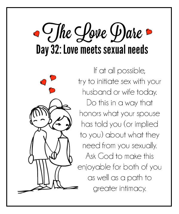 Love Dare Day 32: love meets sexual needs