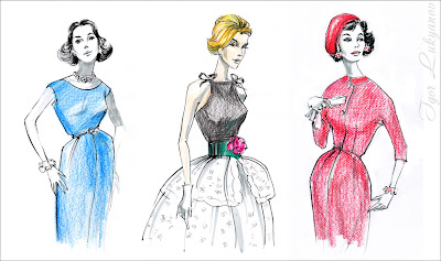 old vintage retro illustration (imitation of the vogue magazine style)