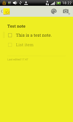 Google keep: Individual note