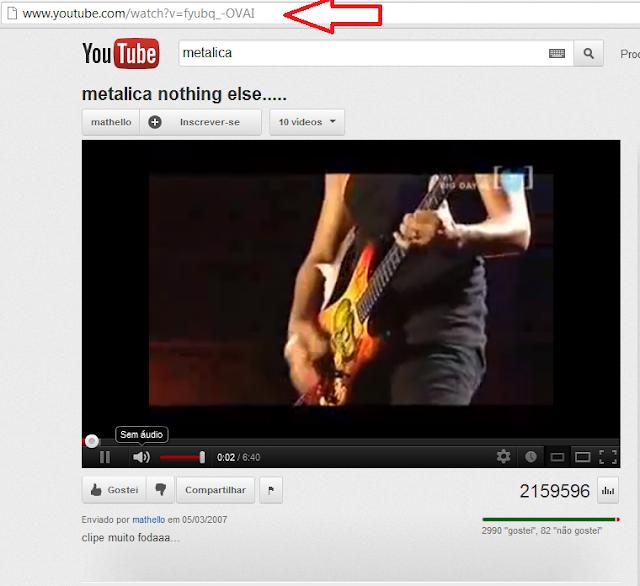Youtube e pesquise o vídeo com a música que deseja baixar, veja
