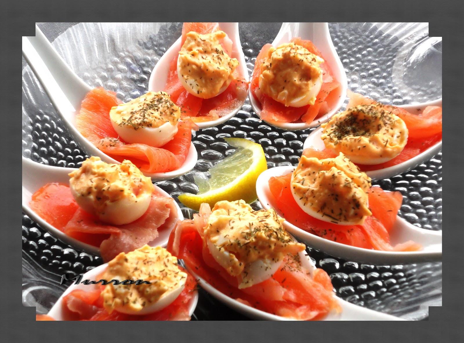 Murron cocina cucharillas de salm n ahumado y huevo de - Aperitivos de salmon ahumado ...