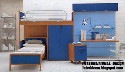 blue kids bedroom furniture, blue punk bed