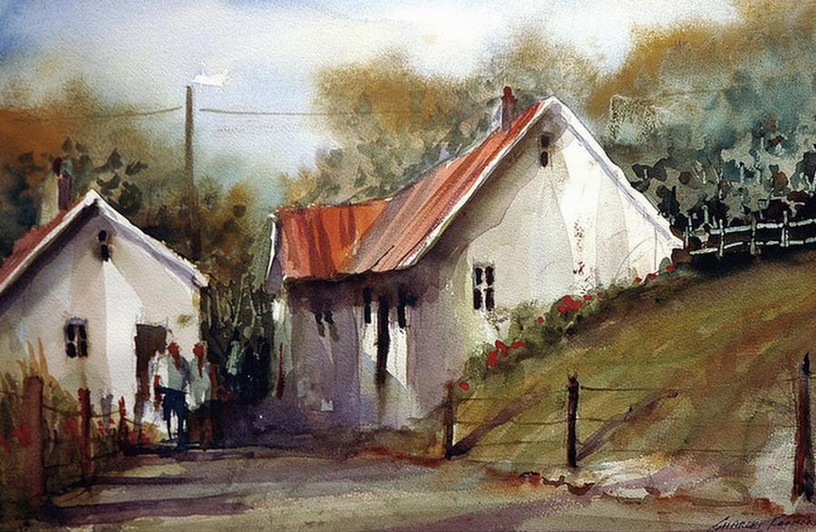 Cuadros modernos pinturas y dibujos acuarelista pintor for Casas modernas famosas