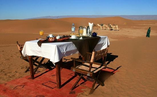 Fine restaurant in a plain desert