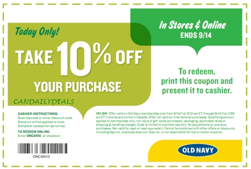 Old navy coupons canada september 2018