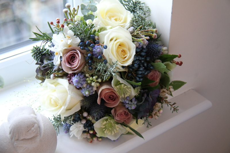 The midnight blue frosted winter white wedding day of ashley winter wedding bouquet i included some lovely christmas roses helebores paper white narcissus avalanche amnesia roses classic blue hydrangeas mightylinksfo