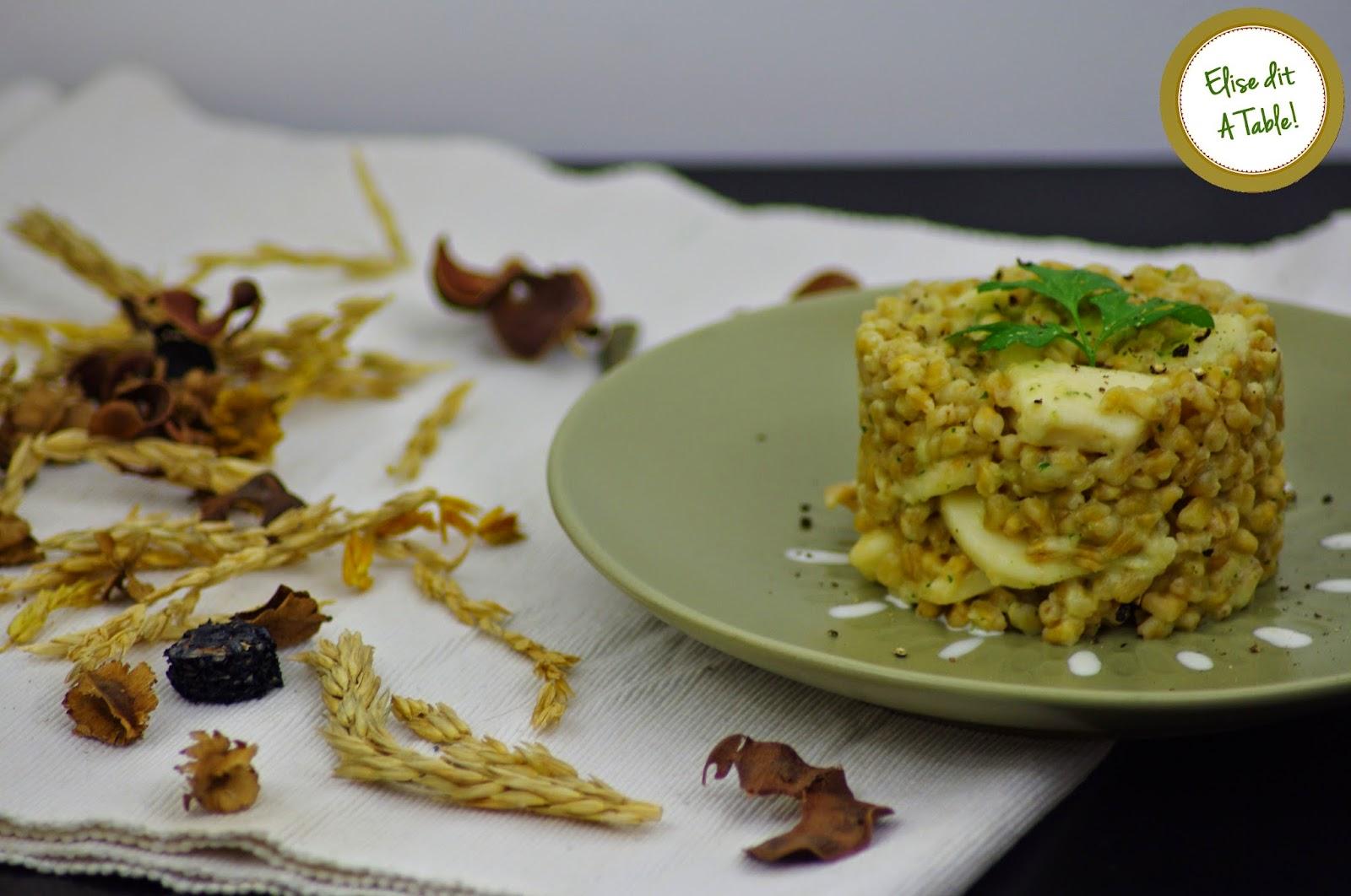 blé à l'encornet avec une sauce crème à l'ail et persil