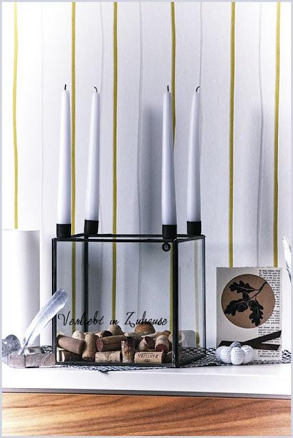 Kerzenständer Glasbox House Doctor dekoriert mit Korken