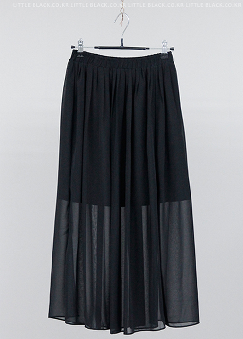 black pleated sheer maxi skirt kstylick