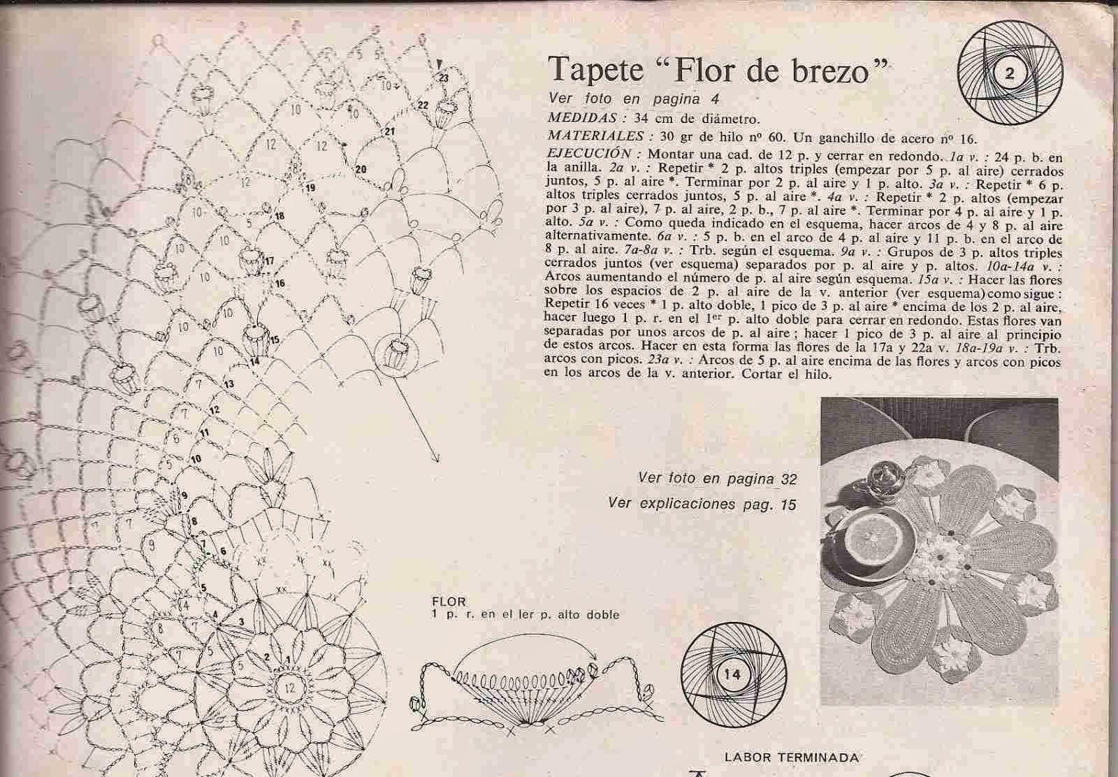 "#38 Tapete a Crochet ""Flor de Brezo"""