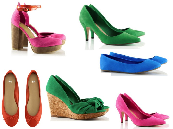 From top to bottom pink platform sandals 2499 green heels 1499
