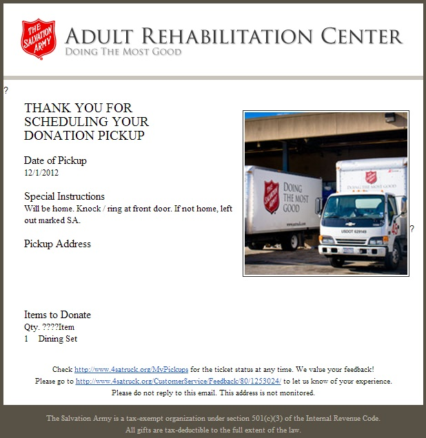 Green espirit tax deduction tip non cash donation salvation army sent a truck with two helpers to move my used dining table set into the truck and handed me a donation receipt to claim tax deduction altavistaventures Gallery