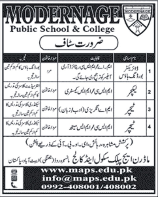 Lecturers Jobs in Modern age Public School & College Abotabad