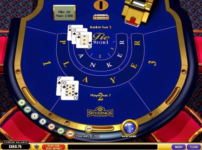 Skyking Casino Baccarat Screen