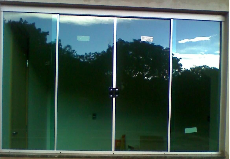 #377E94  SERRALHERIA: Janela correr 4 folhas vidro verde aluminio fosco 216 Janelas De Vidro P Quarto