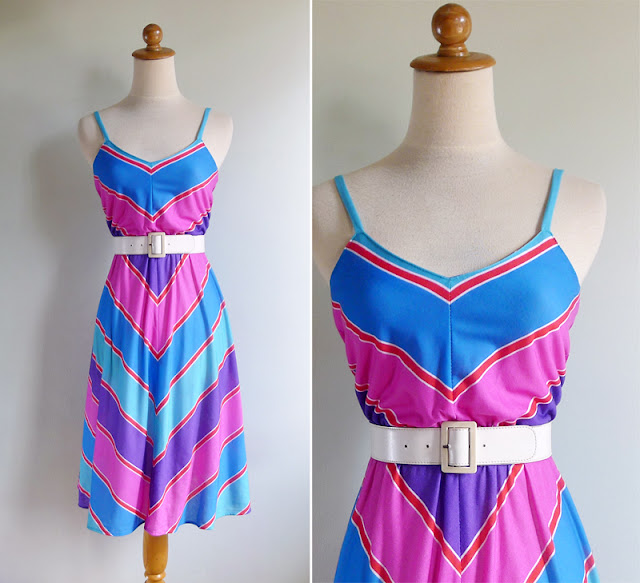 vintage 1970's multi colored sun dress