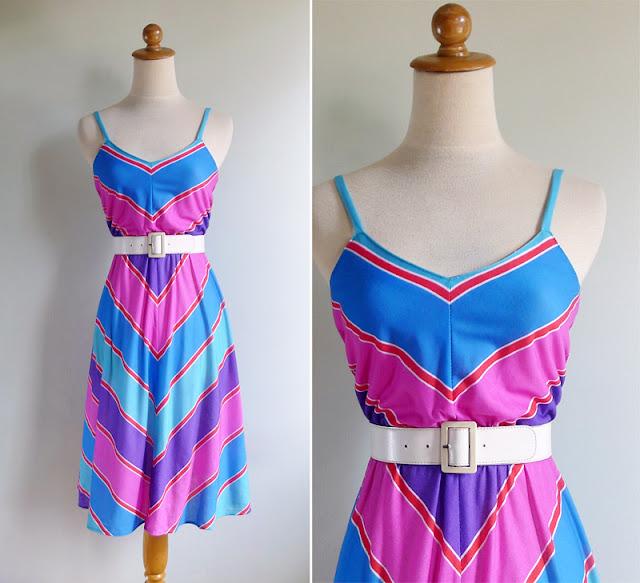 vintage 1970's multi colored sun dress
