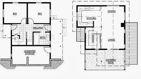 plano de m ideal como segunda vivienda para la playa dos dormitorios y planta baja diafana