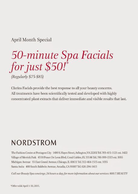 Clarins is offering a 50 min spa facial $50 for the month of April at Nordstrom.