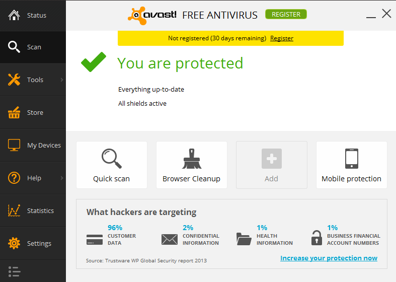 Avast! Free Antivirus 2014 9.0 for Windows 8, 7 - Main Interface