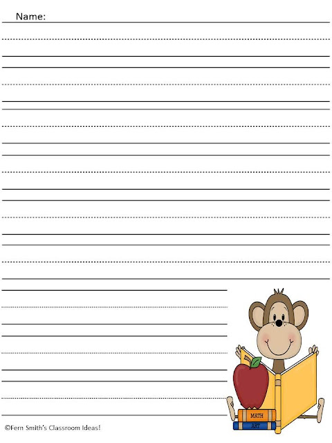 FREE Curious George Writing Center Paper by Fern Smith's Classroom Ideas at Teacherspayteachers.