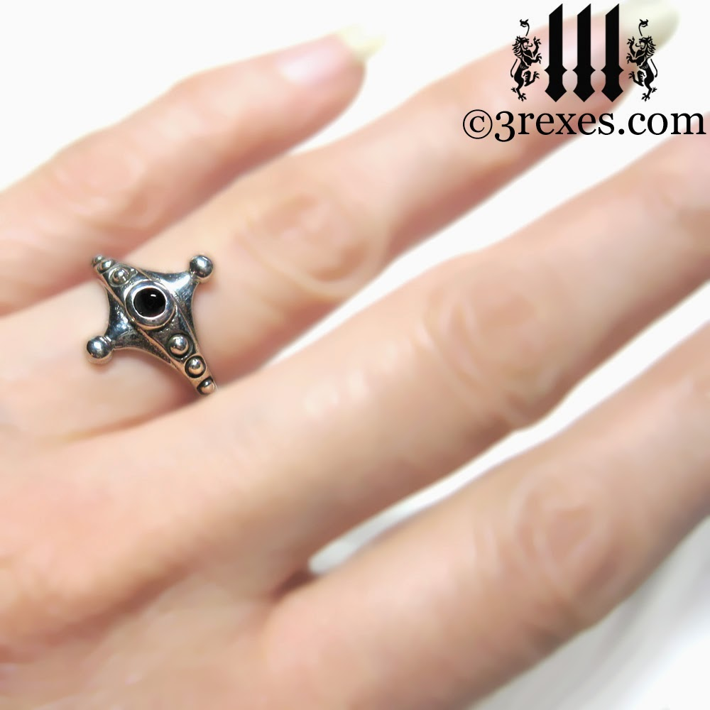 Imp Silver Fairy Ring Gothic Black Onyx Friendship Ring On Model