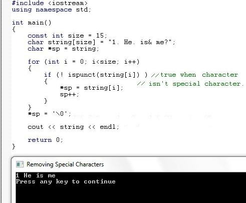 c++: program to remove special characters in a string in c++.