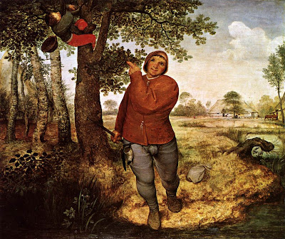 Flemish peasant renaissance clothing in The Peasant and the Birdnester by Pieter Bruegel
