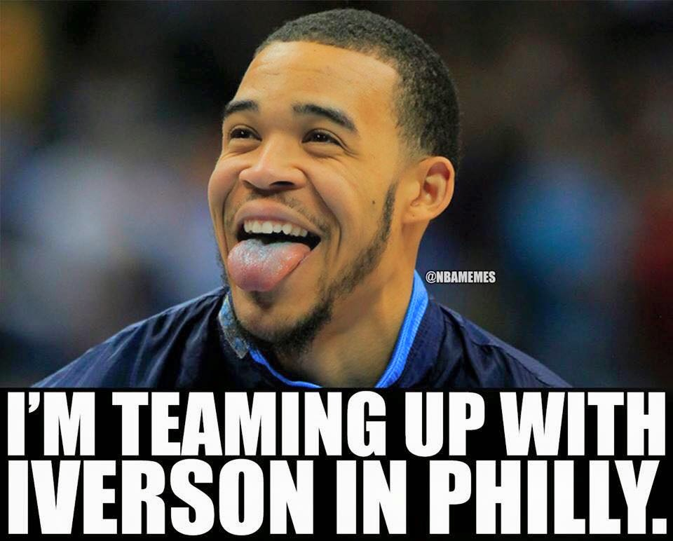 I'm teaming up with Iverson in Philly. - #76ers #JaValeMcGee  #AllenIverson #nba #tongueout
