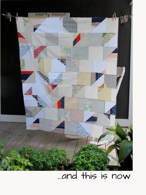 Improvisational half-square triangle quilt top