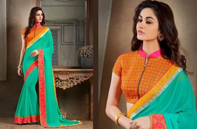 Collar neck blouse designs for saree lehengas