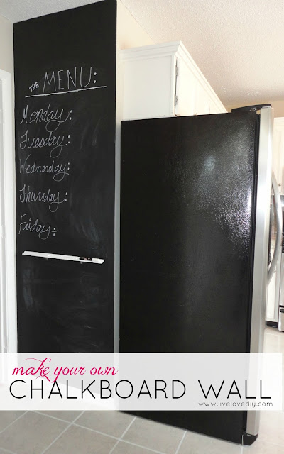 Make your own chalkboard wall in the kitchen! Great for menus, shopping lists, notes, etc.