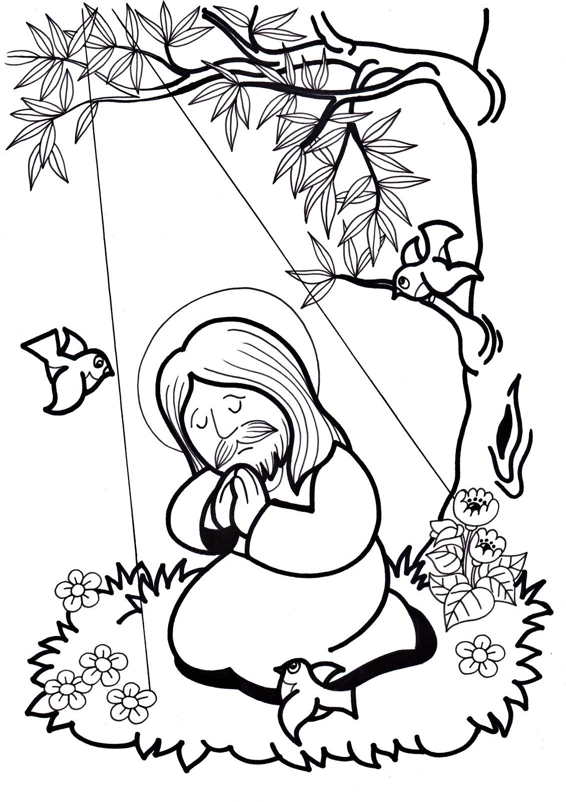 Excepcional Jesús Rezando Para Colorear Bosquejo - Ideas Para ...