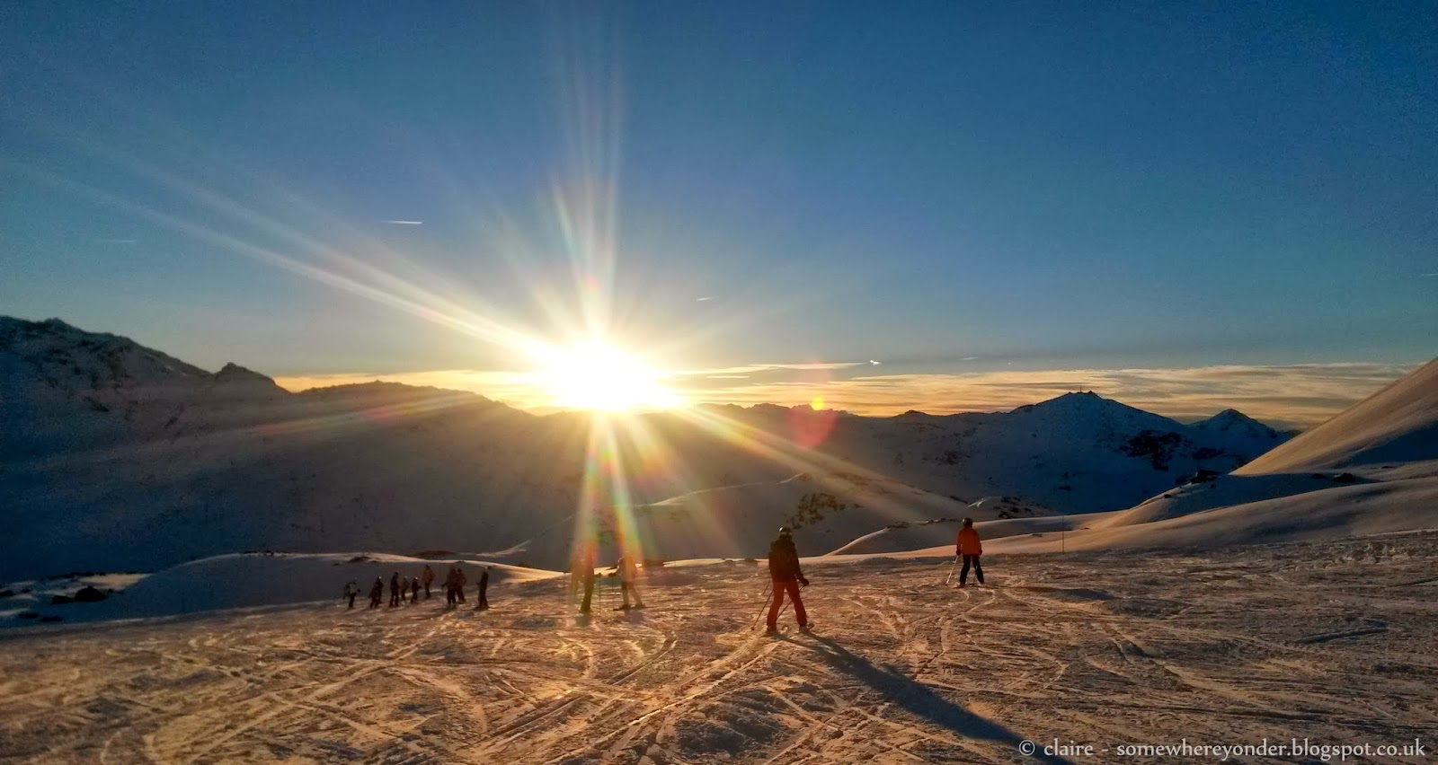 Sun set on Val Thorens - France