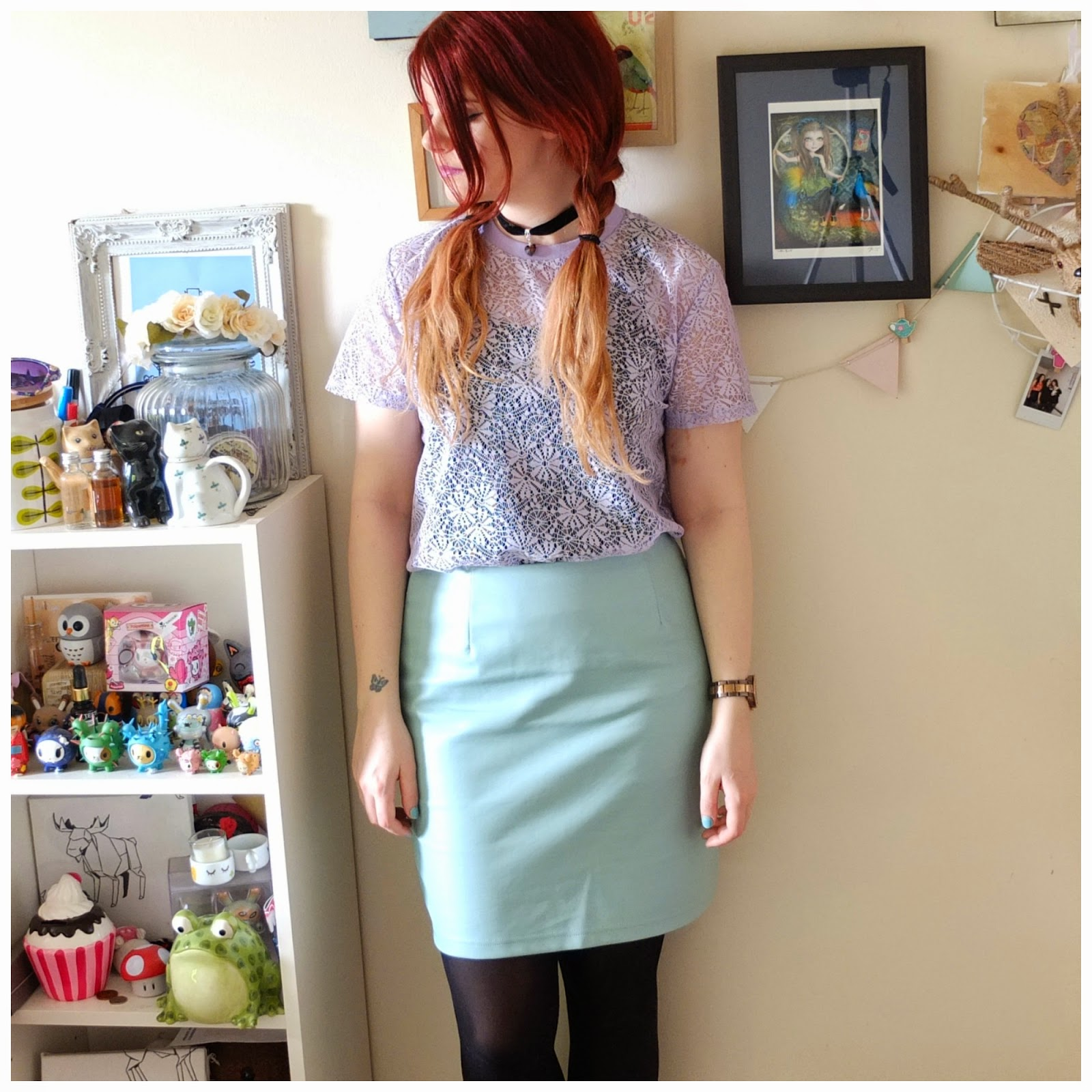 Primark Mint Leather Skirt, Primark Lilac Floral Top: Outfit of the day on Hello Terri Lowe. UK fashion blog.
