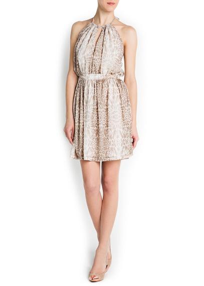 boyundan bağlamalı desenli krem rengi elbise kısa