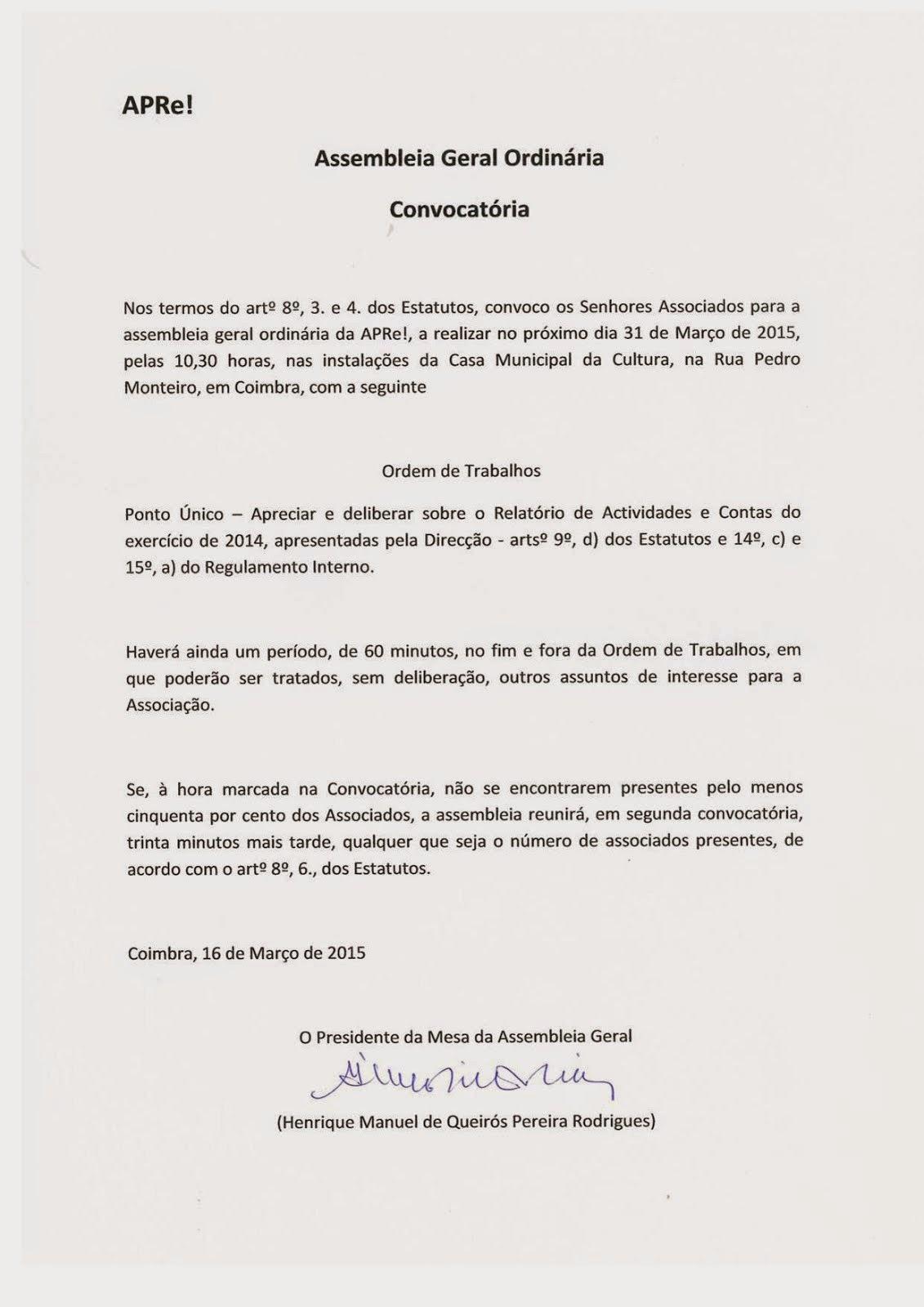 Convocatória para Assembleia Geral Ordinária da APRe!