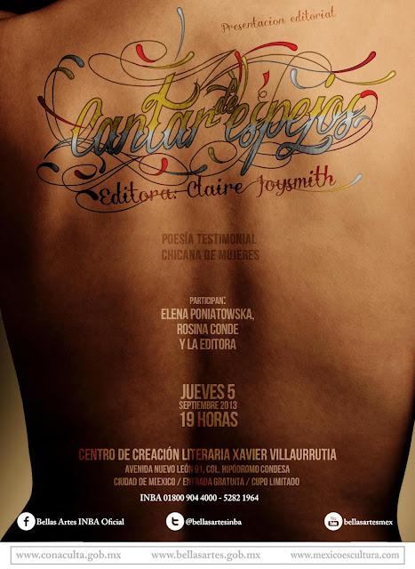 """Presentan """"Cantar de espejos"""" sobre poesía chicana en el CCLXV"""