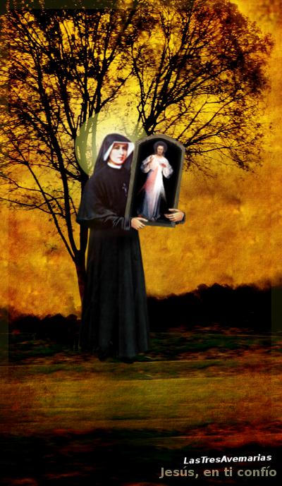 santa fasutina con el cuadro de la diviana misericordia