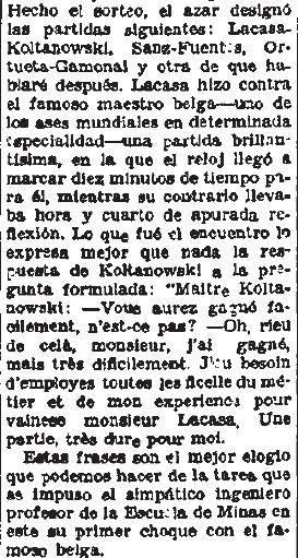 Extracto del artículo sobre el Torneo Internacional de Ajedrez del Madrid F.C. 1936 en El Sol