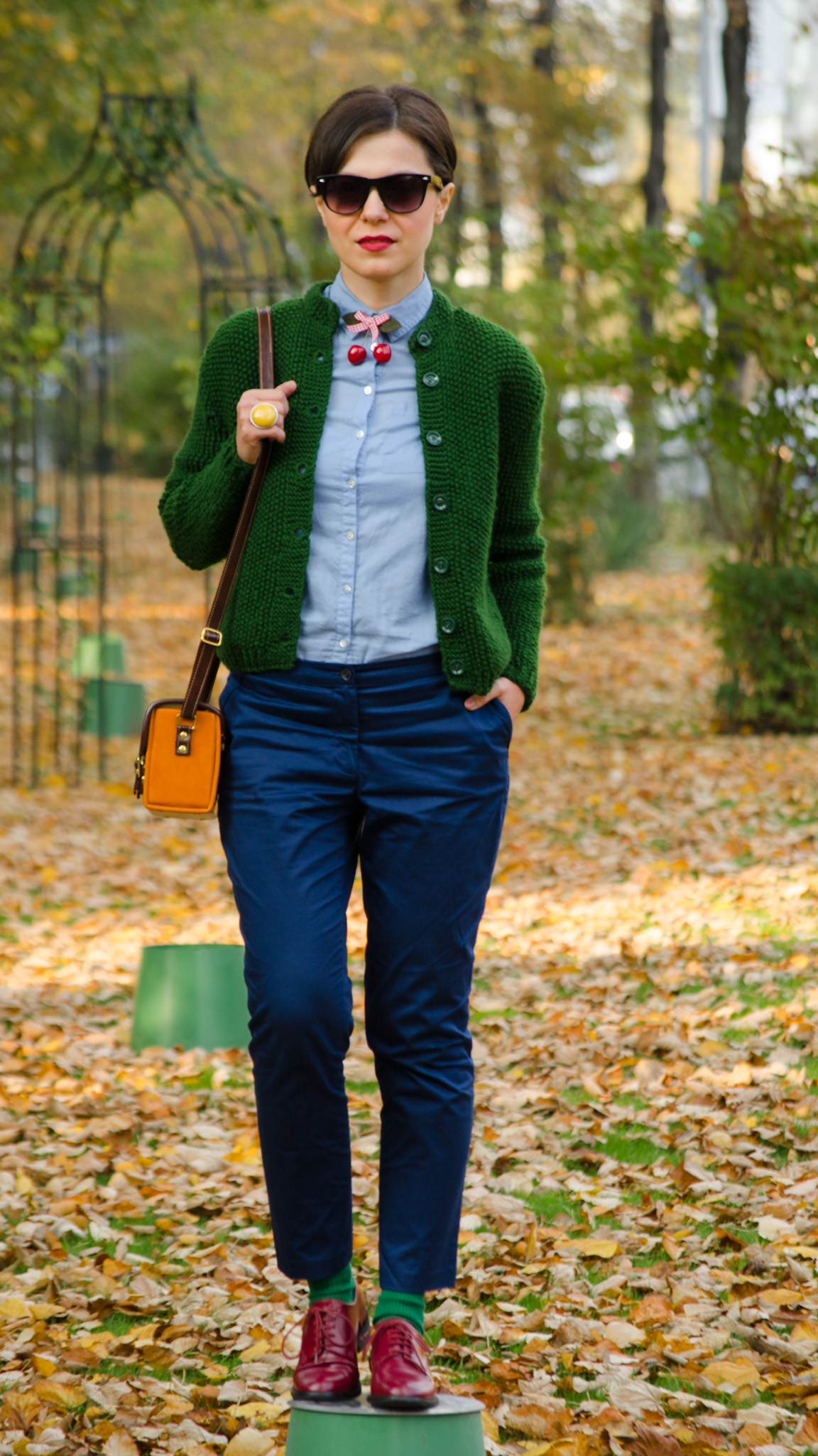 navy blue pants knitted green sweater shirt mustard square bag cherries h&m thrifted  burgundy man shoes oxford autumn scenery yellow leaves