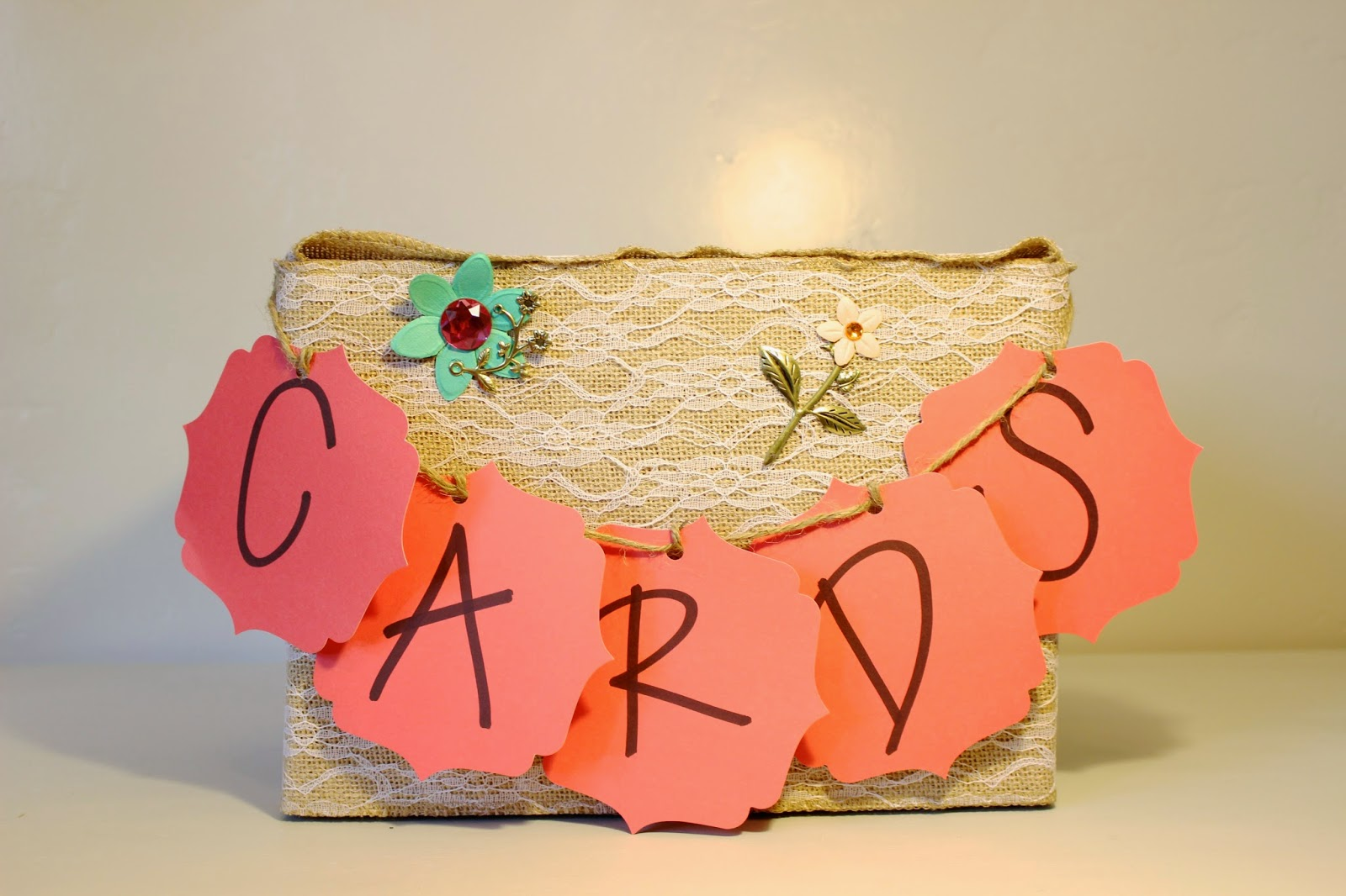 wedding card box, hand made card box, rustic wedding card box, country wedding card box, shabby chic card box, card holder, reception card holder, wedding card holder, lace and burlap card box, coral and gold and turquoise card box