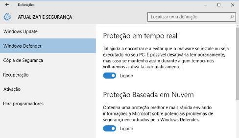 Como desactivar o Windows Defender no Windows 10