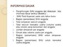 Informasi Dasar Penghitungan SHU