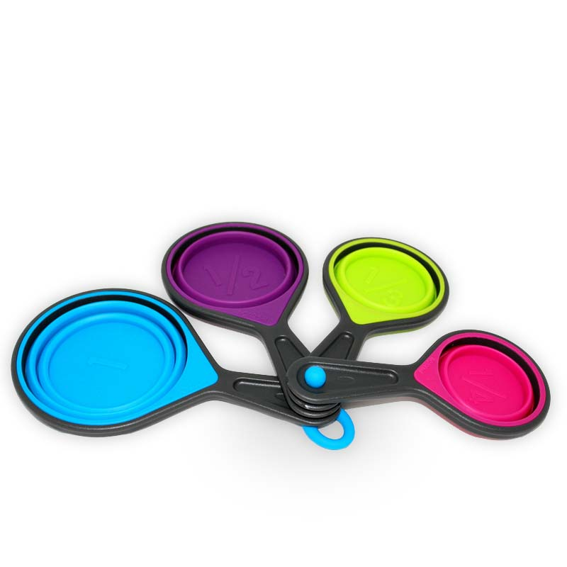 OX-914 4Pcs Folding Silicone Measuring Cups